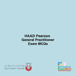 HAAD Pearson General Practitioner Exam MCQs