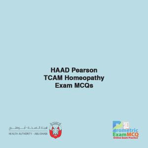 HAAD Pearson TCAM Homeopathy Exam MCQs