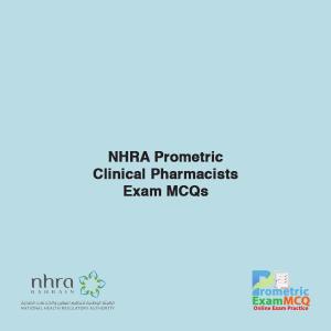 NHRA Prometric Clinical Pharmacists Exam MCQs