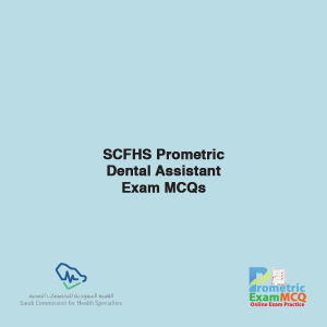 SCFHS Prometric Dental Assistant Exam MCQs