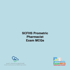 SCFHS Prometric Pharmacist Exam MCQs