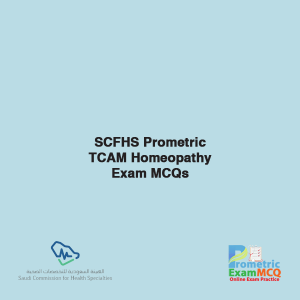 SCFHS Prometric TCAM Homeopathy Exam MCQs